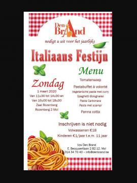 Flyer Italiaans Festijn tvv Den Brand